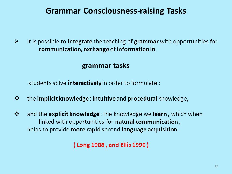 Grammar Consciousness-raising Tasks
