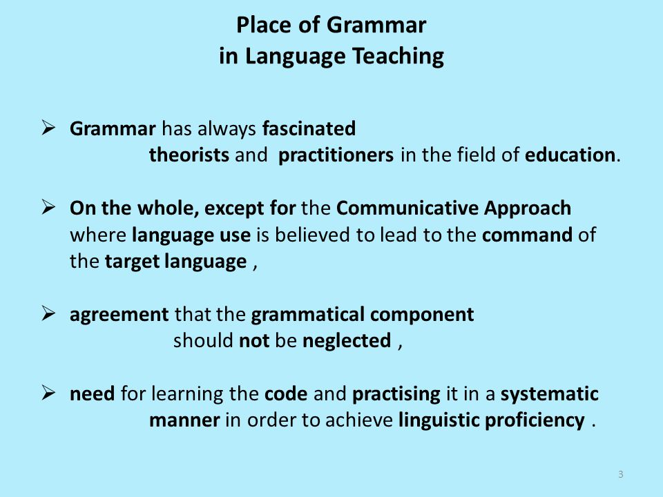 Place of Grammar in Language Teaching