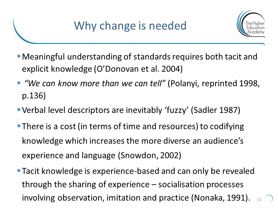 Why change is needed Meaningful understanding of standards requires both tacit and explicit knowledge (O'Donovan et al. 2004)