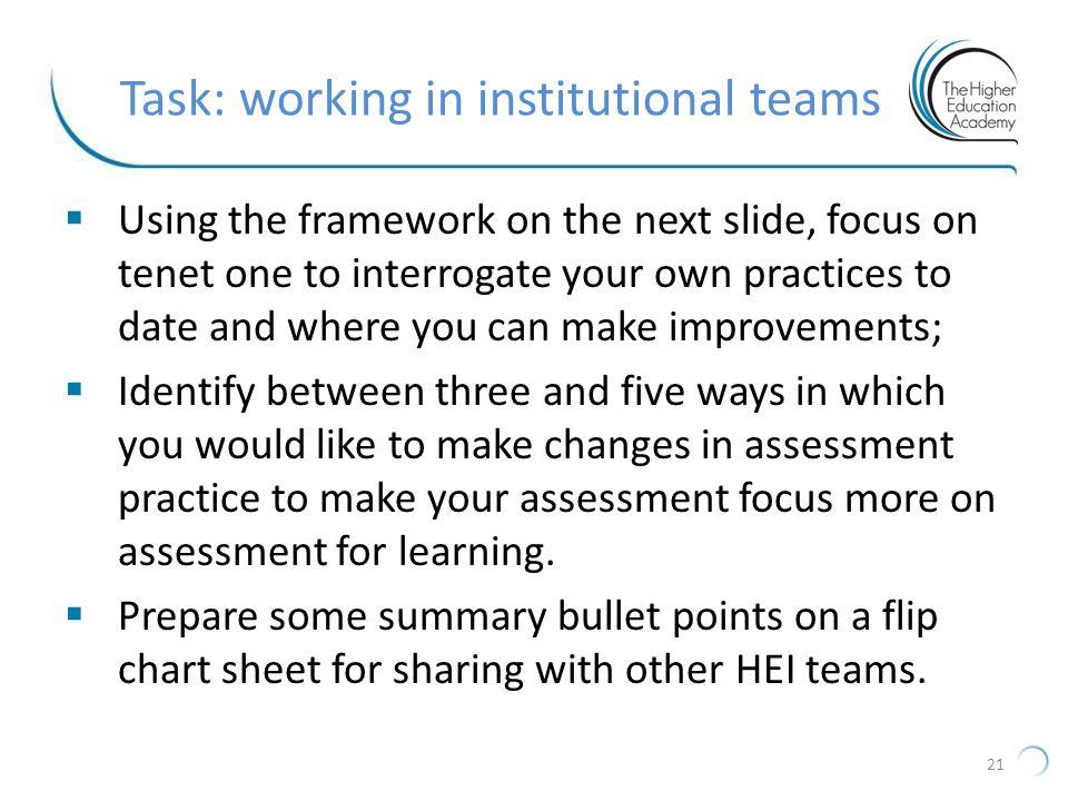 Task: working in institutional teams