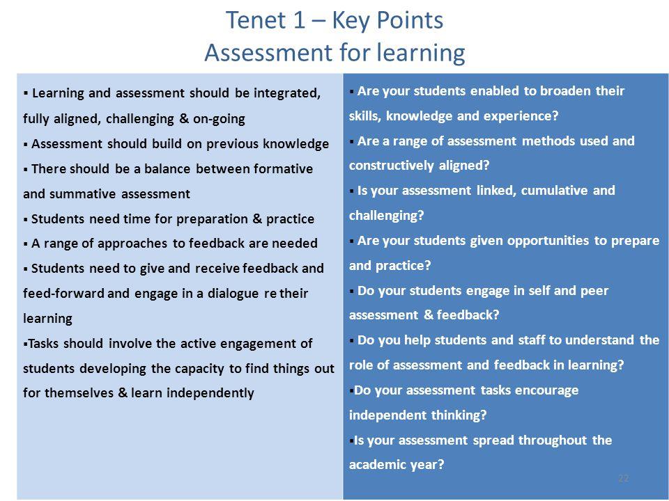 Tenet 1 – Key Points Assessment for learning