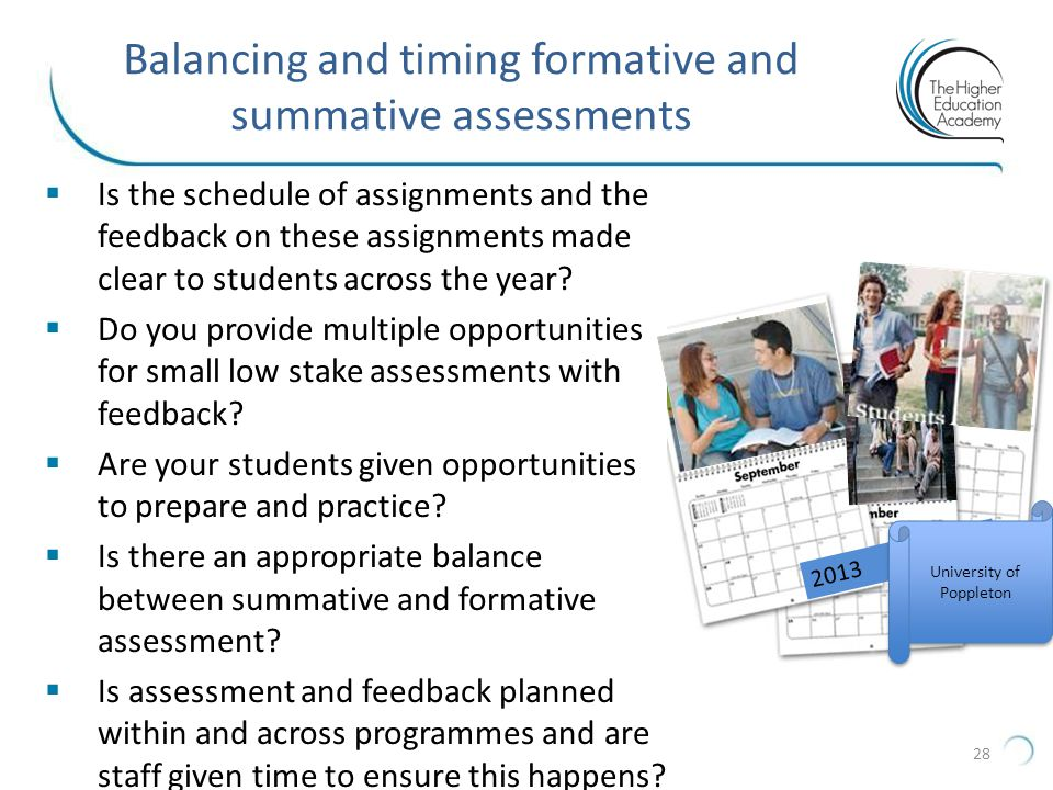 Balancing and timing formative and summative assessments