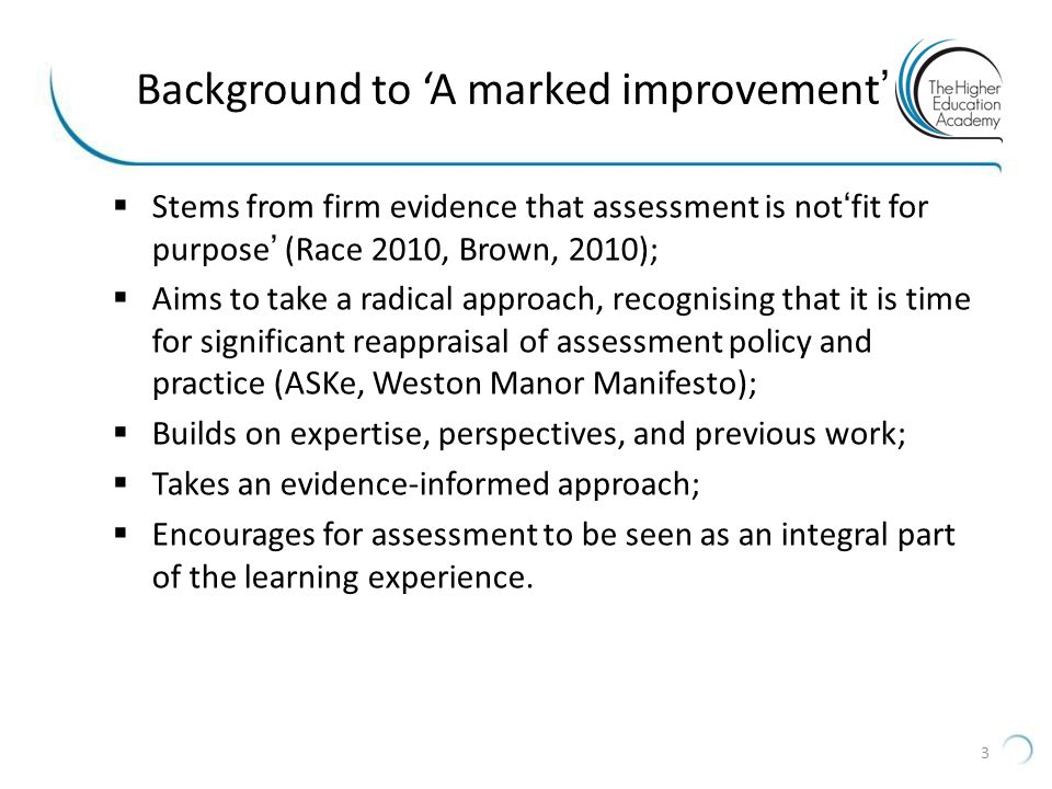 Background to 'A marked improvement'