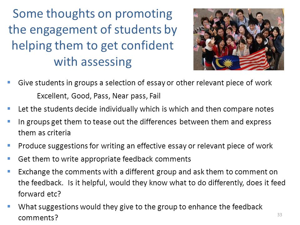 Some thoughts on promoting the engagement of students by helping them to get confident with assessing