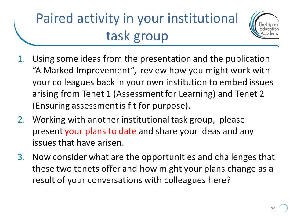 Paired activity in your institutional task group