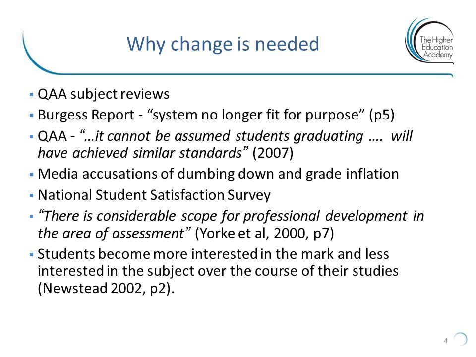 Why change is needed QAA subject reviews