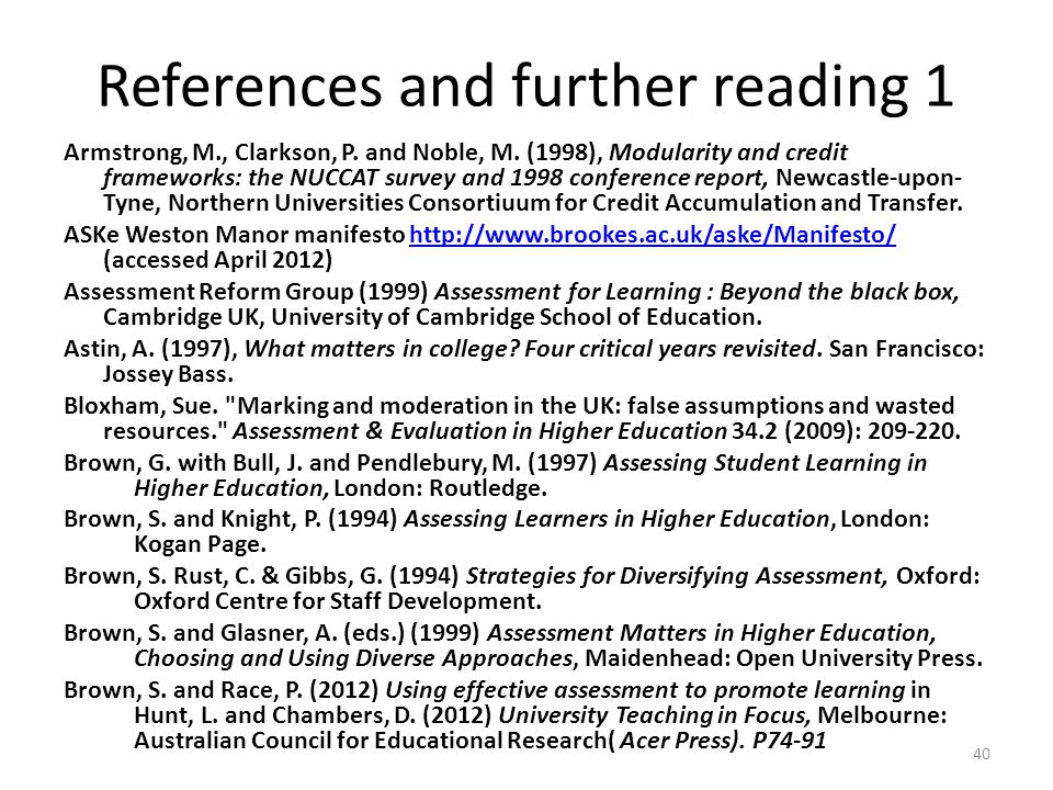References and further reading 1
