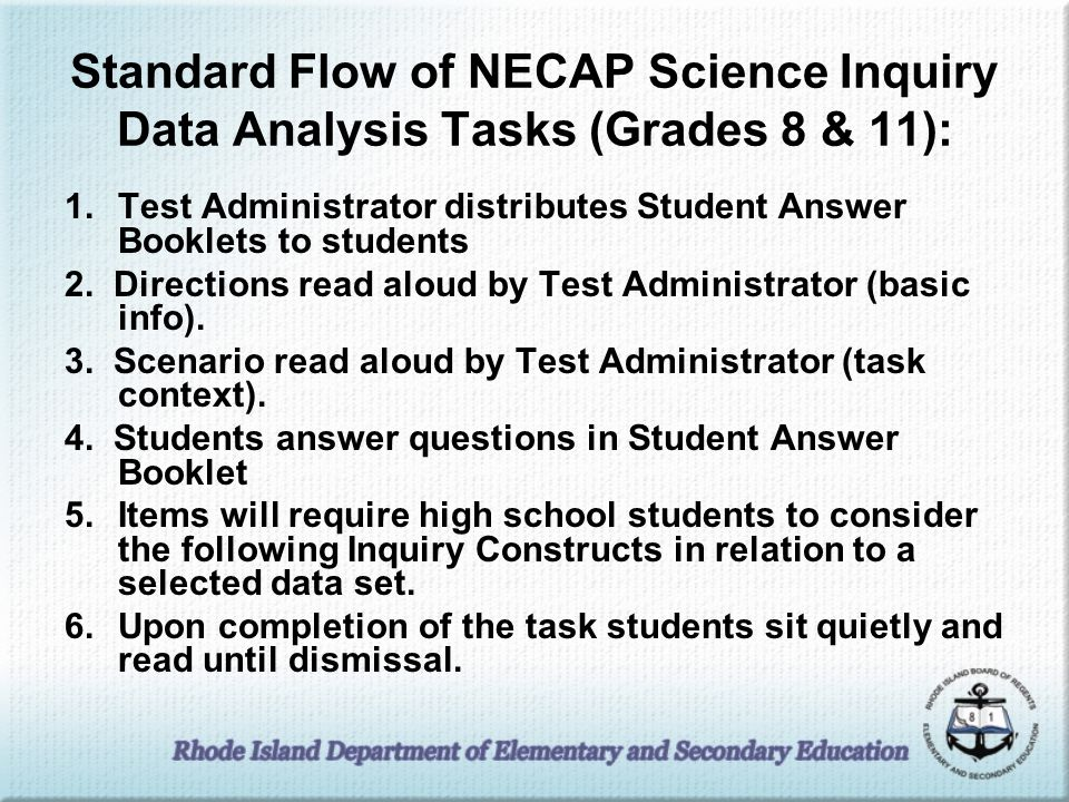 Standard Flow of NECAP Science Inquiry Data Analysis Tasks (Grades 8 & 11):
