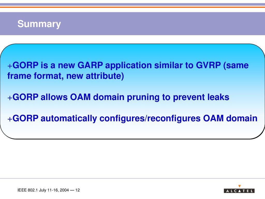 OAM Domain configuration using GARP (Generic OAM