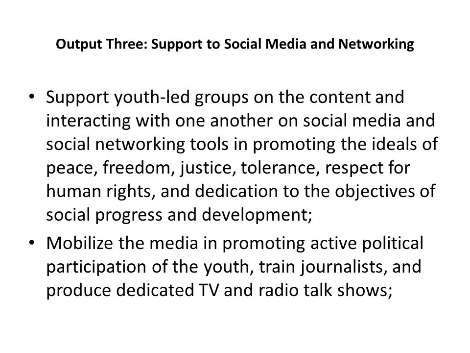 Output Three: Support to Social Media and Networking