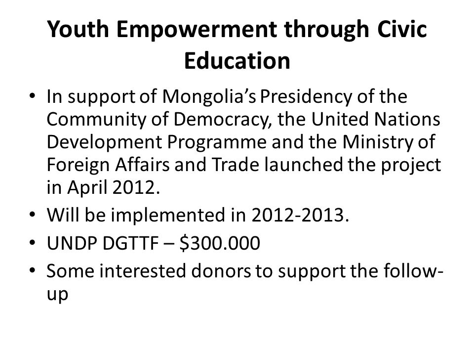 Youth Empowerment through Civic Education