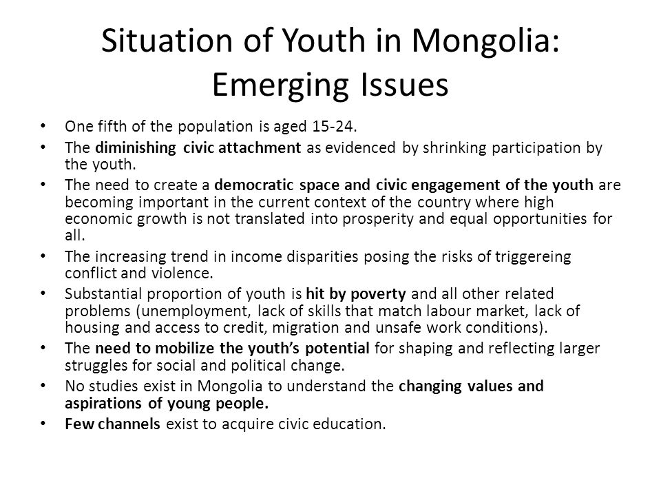 Situation of Youth in Mongolia: Emerging Issues
