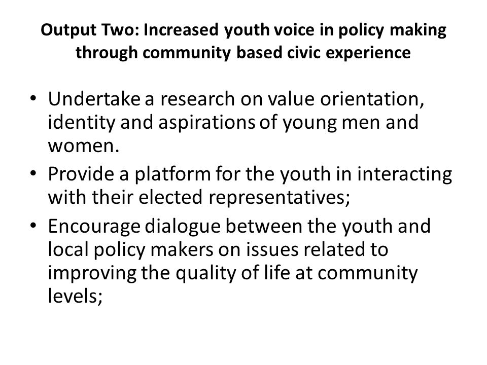 Output Two: Increased youth voice in policy making through community based civic experience