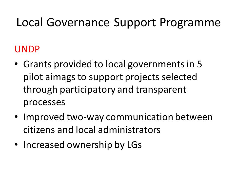 Local Governance Support Programme