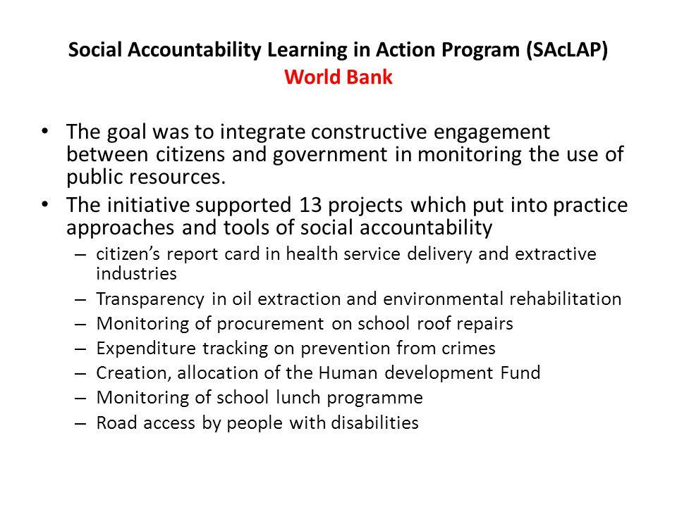 Social Accountability Learning in Action Program (SAcLAP) World Bank