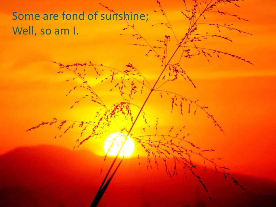Some are fond of sunshine;