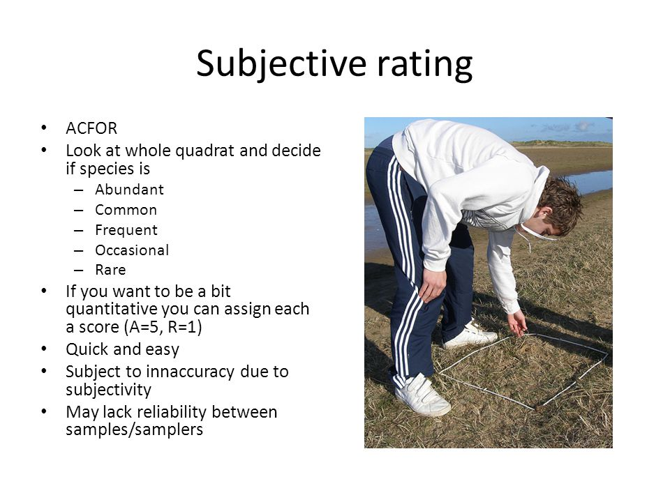 Subjective rating ACFOR Look at whole quadrat and decide if species is