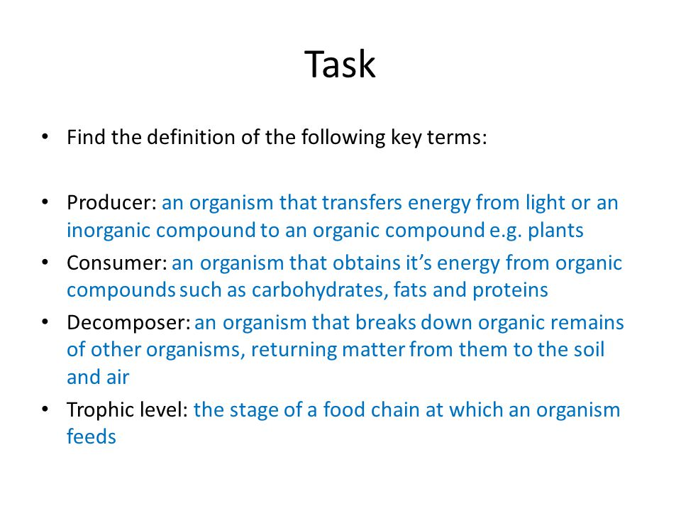 Task Find the definition of the following key terms: