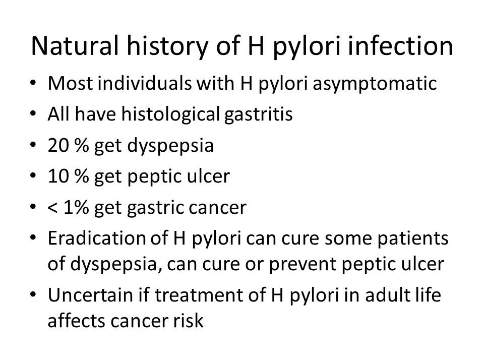 Natural history of H pylori infection