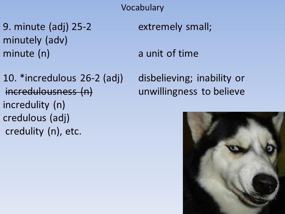 incredulity (n) credulous (adj) credulity (n), etc.
