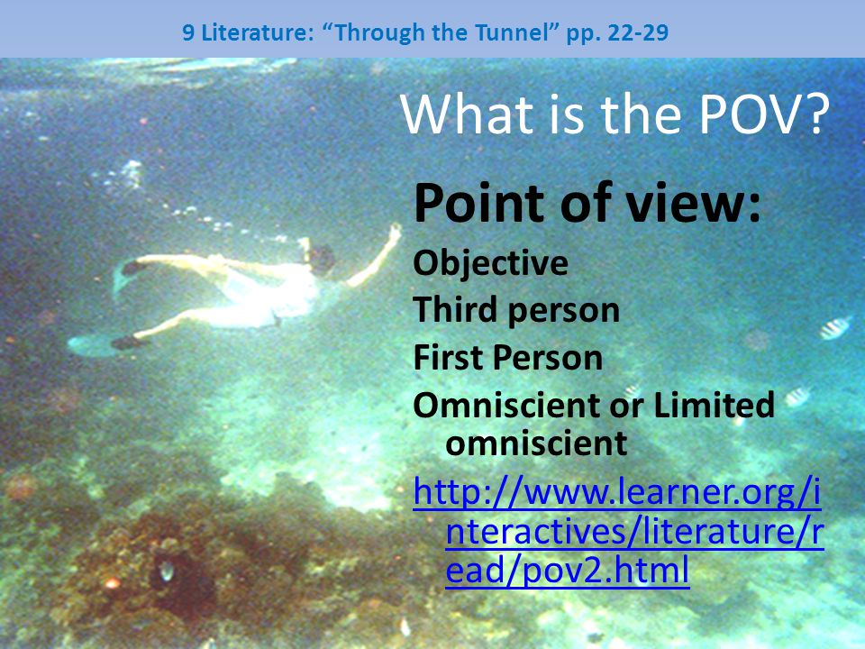 9 Literature: Through the Tunnel pp. 22-29