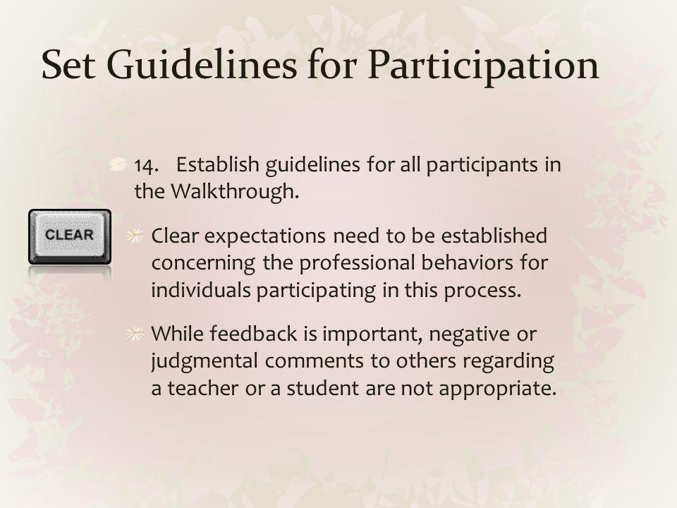Set Guidelines for Participation