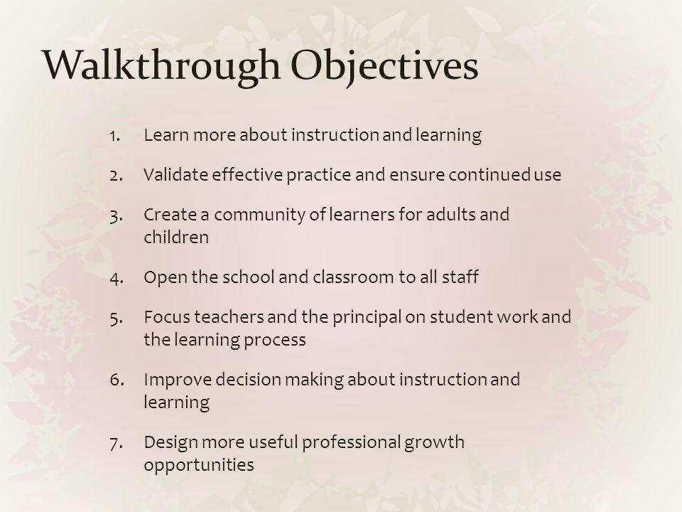 Walkthrough Objectives
