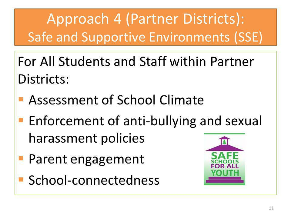 Approach 4 (Partner Districts): Safe and Supportive Environments (SSE)
