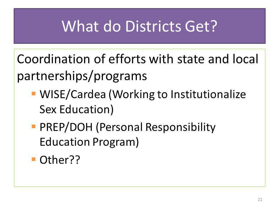 What do Districts Get Coordination of efforts with state and local partnerships/programs. WISE/Cardea (Working to Institutionalize Sex Education)