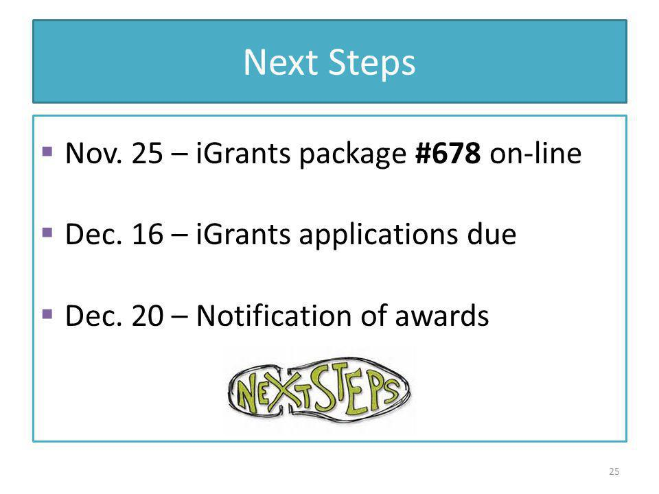 Next Steps Nov. 25 – iGrants package #678 on-line