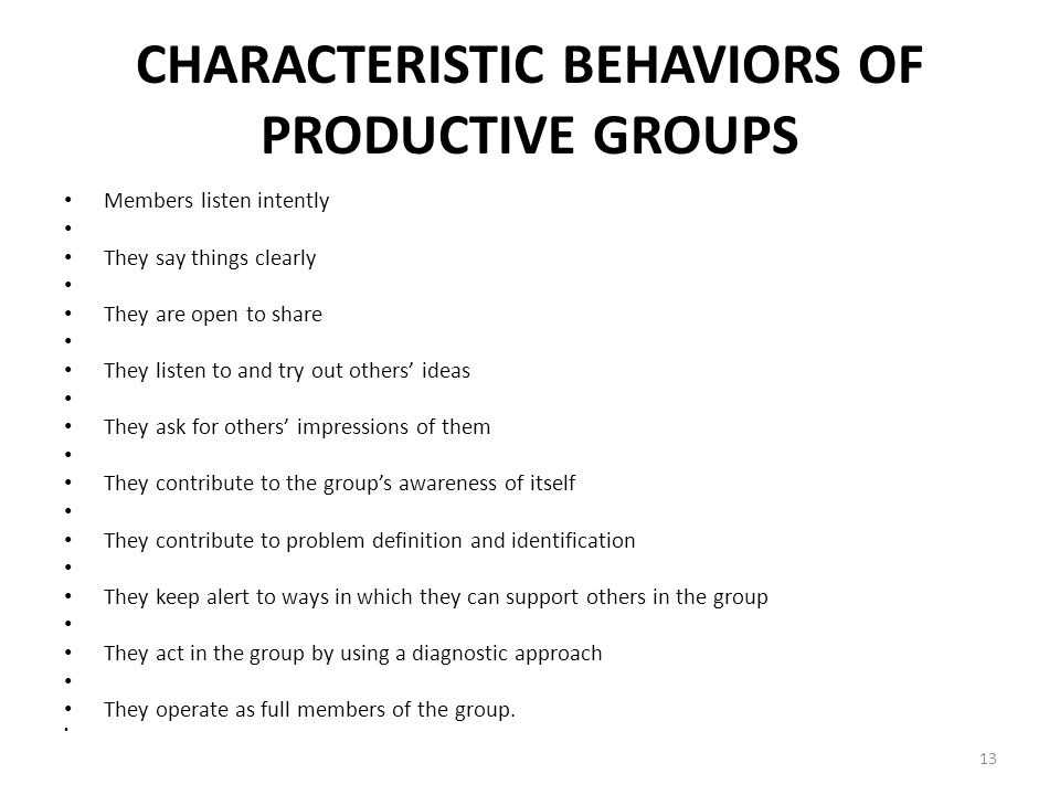 CHARACTERISTIC BEHAVIORS OF PRODUCTIVE GROUPS