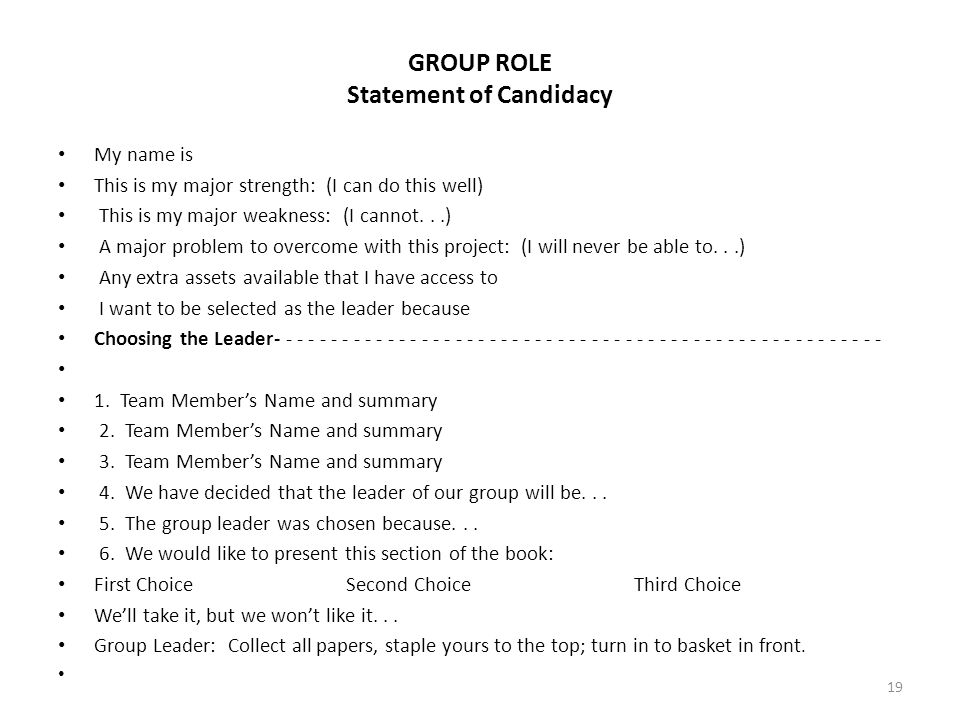 GROUP ROLE Statement of Candidacy