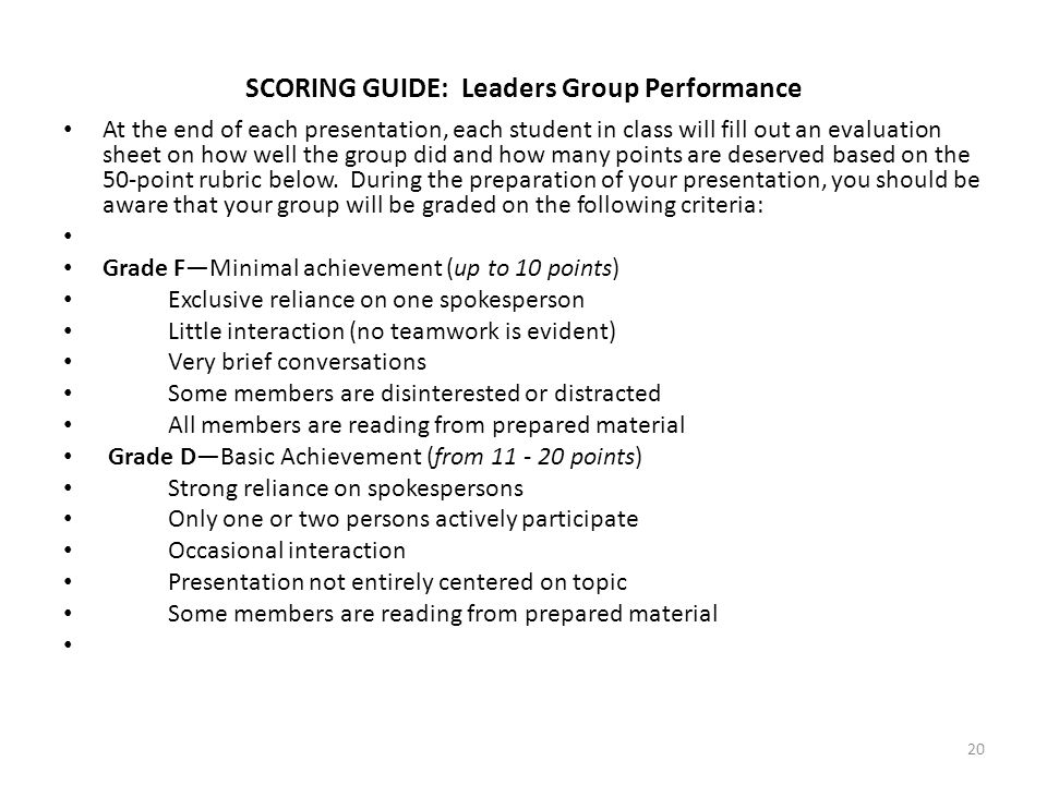 SCORING GUIDE: Leaders Group Performance