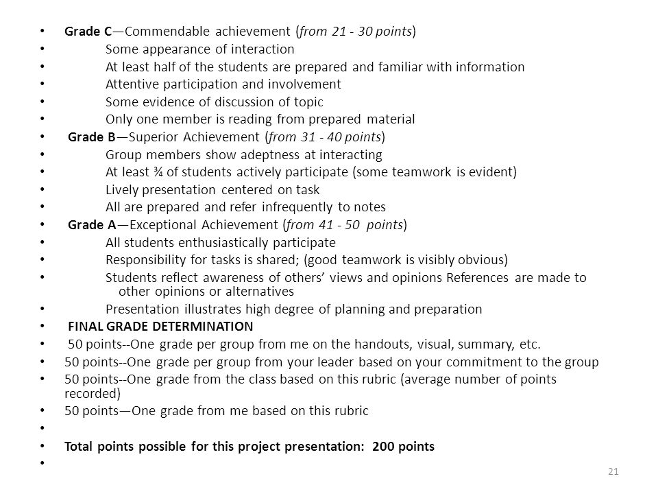 Grade C—Commendable achievement (from 21 - 30 points)