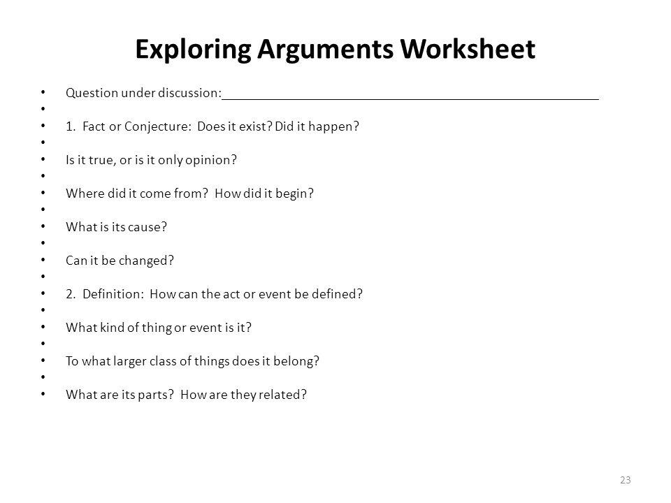 Exploring Arguments Worksheet