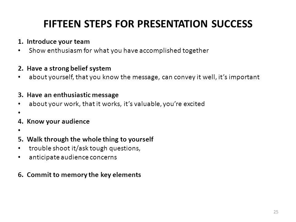 FIFTEEN STEPS FOR PRESENTATION SUCCESS