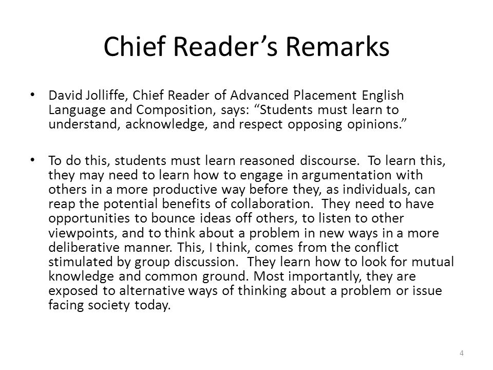 Chief Reader's Remarks
