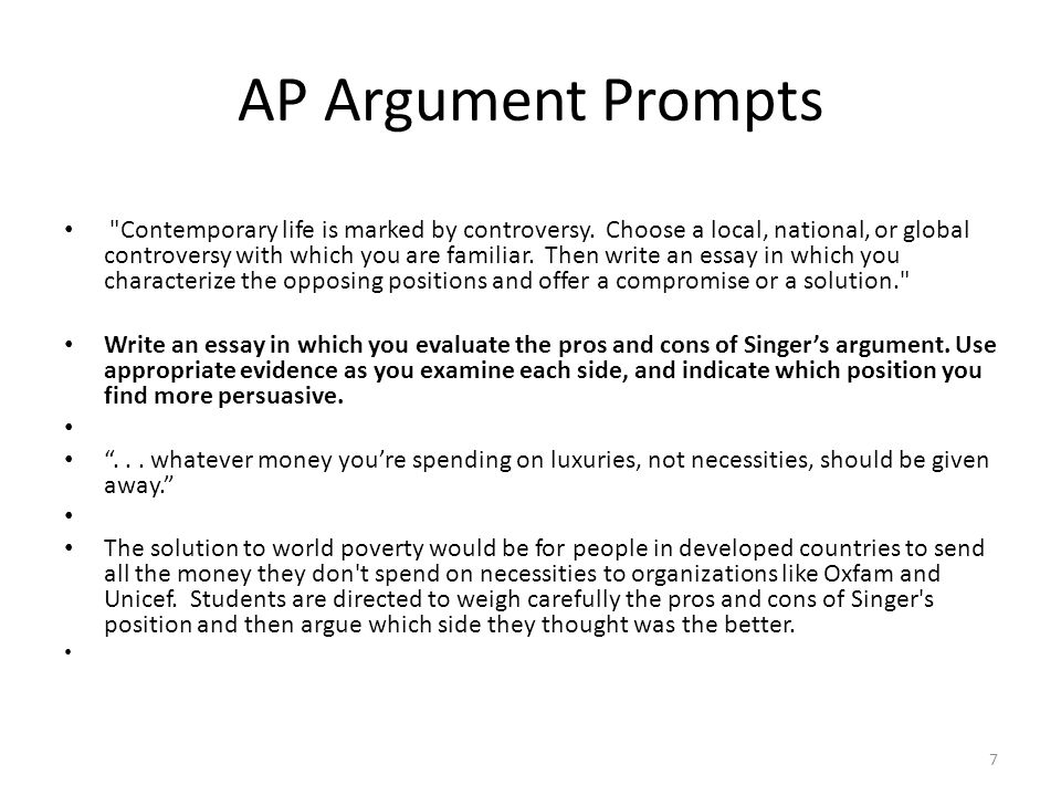 ap argument essay prompts Evidence analysis anatomy of the ap language and composition prompt for question 3 the argument essay aughen ap ang all question 3 prompts come in two parts.