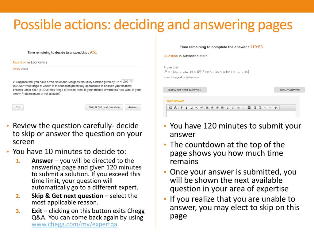 Possible actions: deciding and answering pages