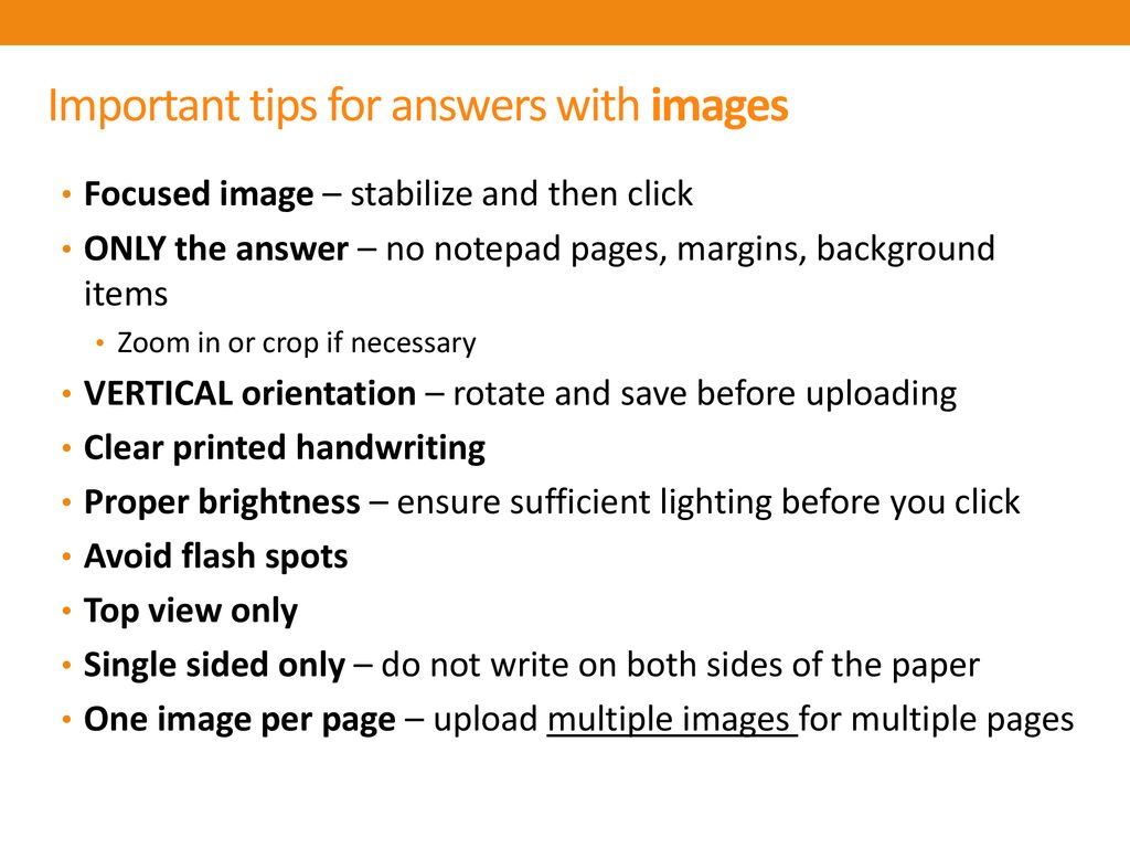 Important tips for answers with images