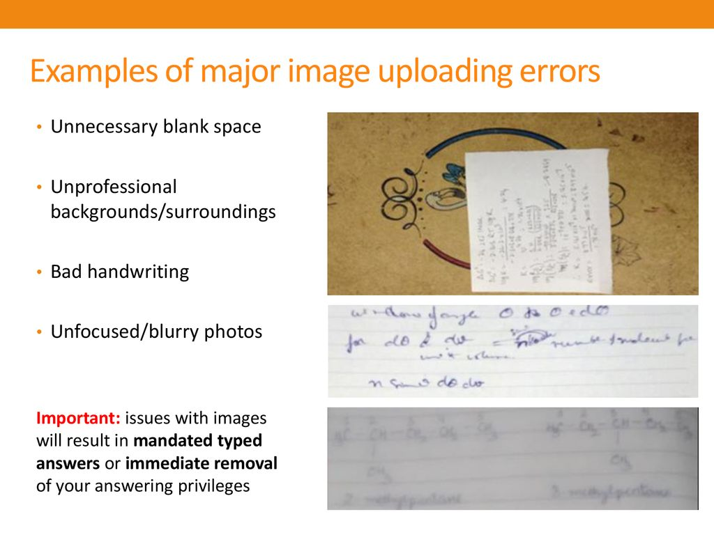 Examples of major image uploading errors