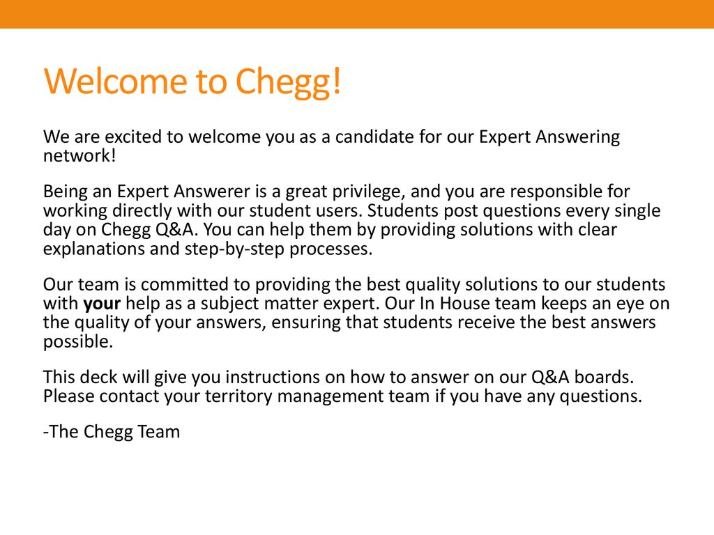 Welcome to Chegg!