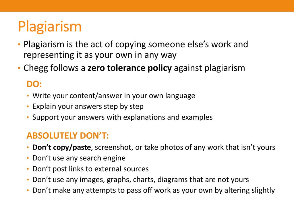 Plagiarism Plagiarism is the act of copying someone else's work and representing it as your own in any way.