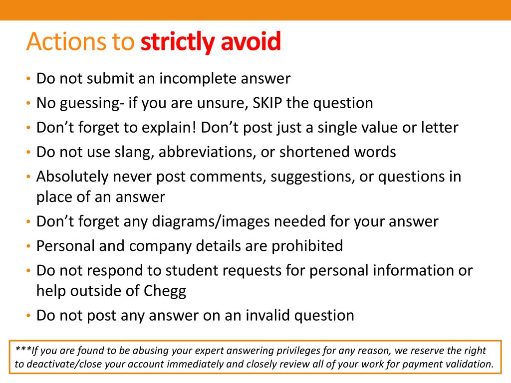 Actions to strictly avoid