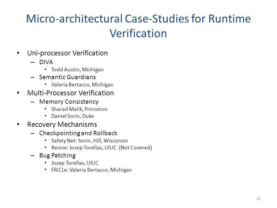 Micro-architectural Case-Studies for Runtime Verification