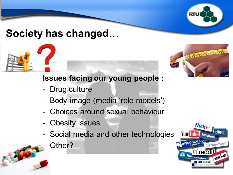 Society has changed… Issues facing our young people : Drug culture