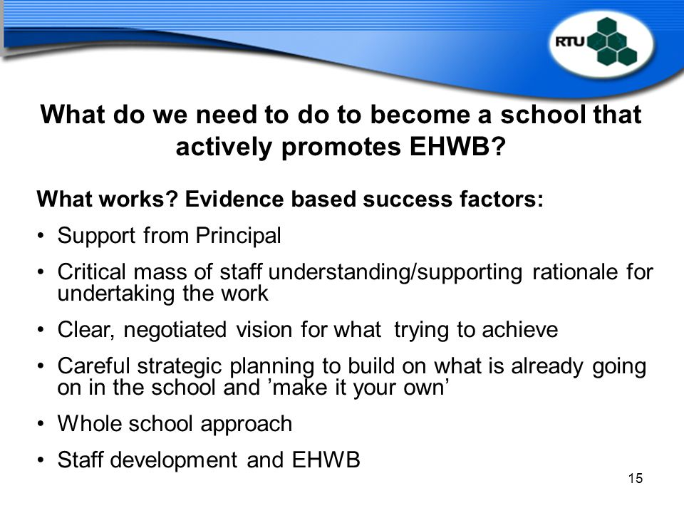 What do we need to do to become a school that actively promotes EHWB