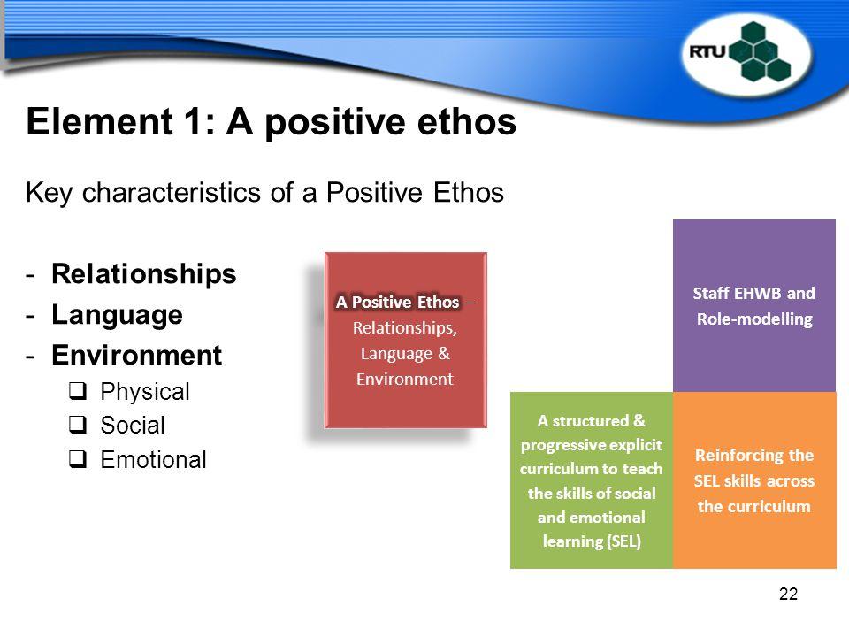 Element 1: A positive ethos