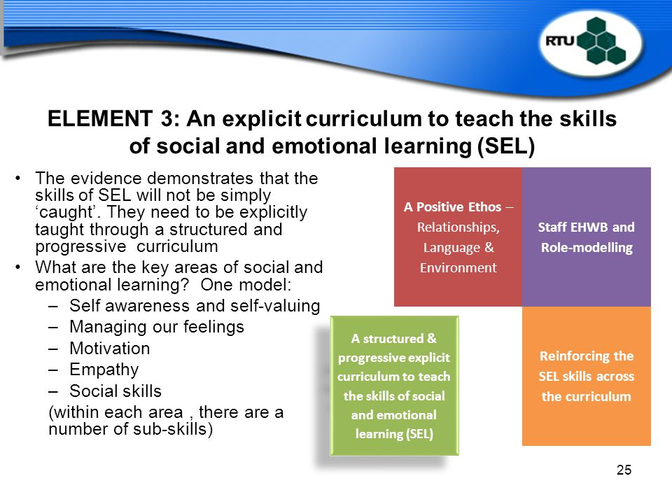 ELEMENT 3: An explicit curriculum to teach the skills of social and emotional learning (SEL)