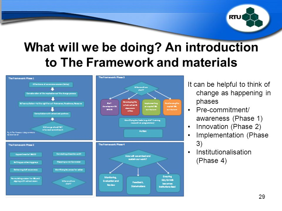 What will we be doing An introduction to The Framework and materials